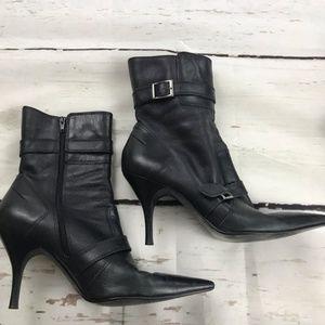 Matisse stiletto side zip buckle black boots